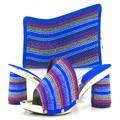 Nuevo Azul Zapatos Italianos con Los Bolsos Que Emparejan Zapatos Africanos y bolsa de Conjunto Decorado con Diamantes de Imitación de Alta Calidad de Las Señoras Shes Tamaño 43