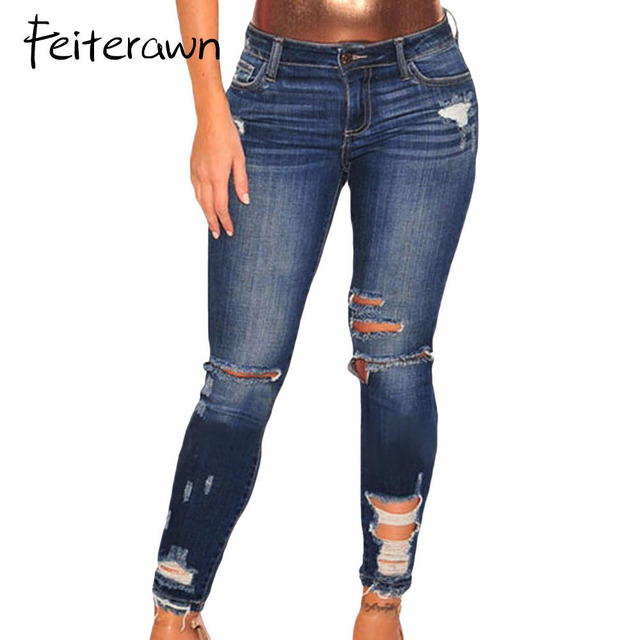 e7d8f4119d2 Feiterawn Ripped Jeans for Women Dark Blue Denim Destroyed Ankle Length Skinny  Jeans Mid Waist Women Jeans XXL Size LC78677