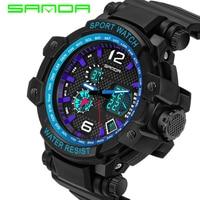 SANDA Back Light Dual Time S Shock Men Sports 30M Water Resisstant LED Digital Military Fashion