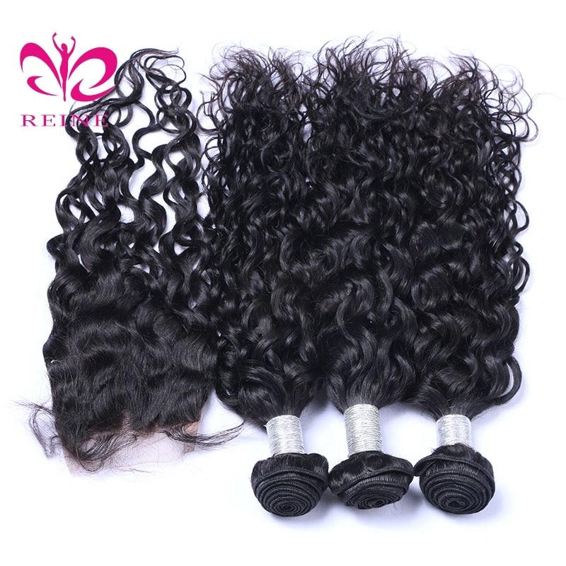 REINE brasilianska vattenvågspaket med stängning 3 buntar - Mänskligt hår (svart)
