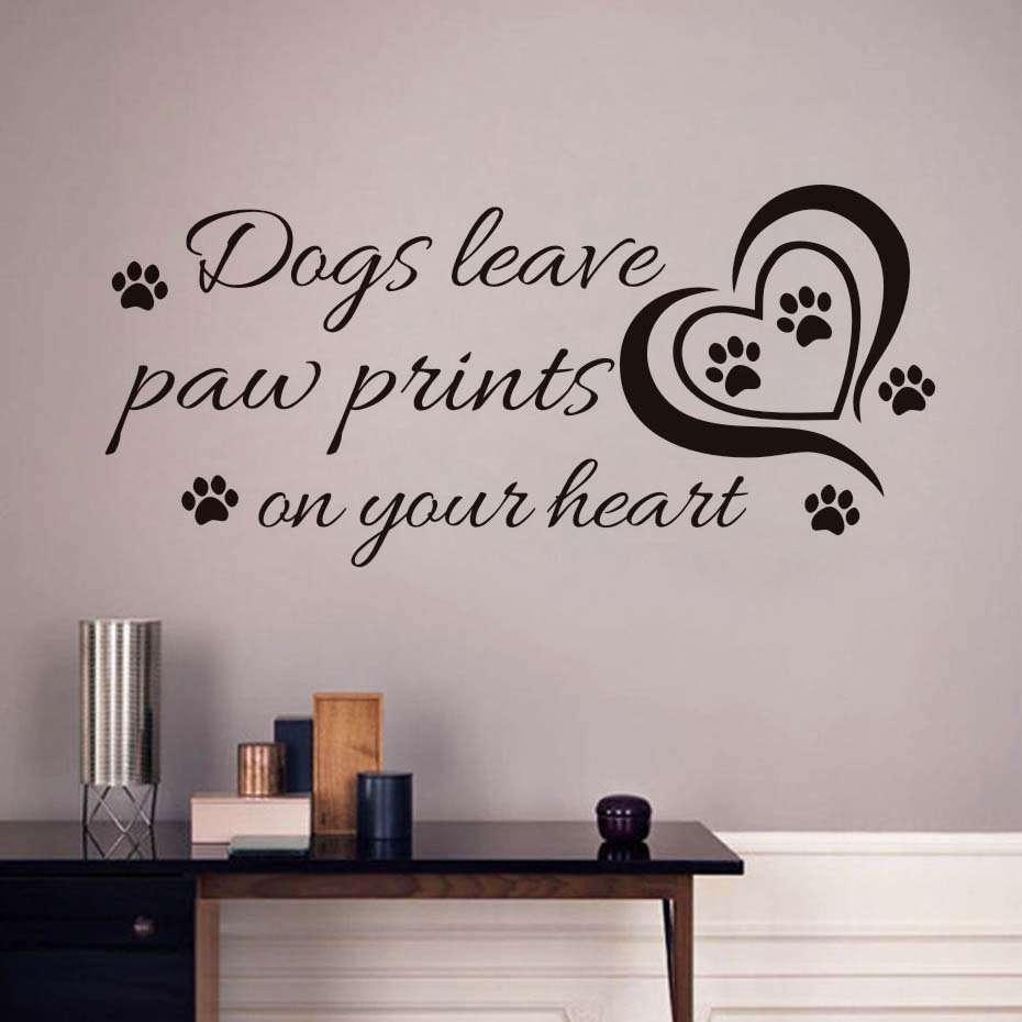 Creative Quotes Dogs Leave Paw Prints On Your Heart Wall Stickers Pet Shop Room Decoration Vinyl Wall Art Decals Wallpaper