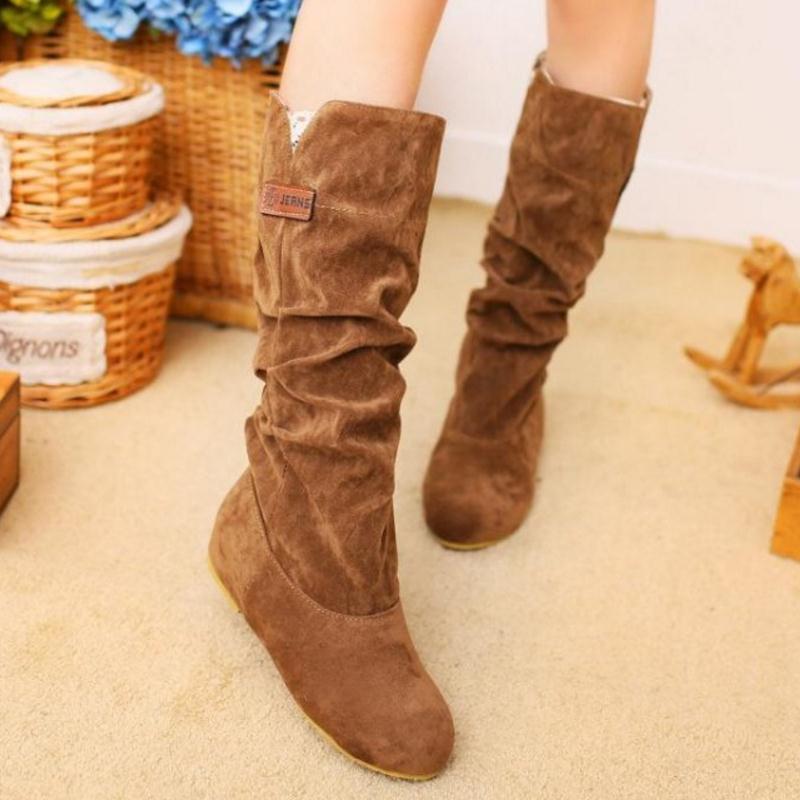 060e0aeab1 Inverno Mulheres Dedo Senhoras Do preto 43 Joelho Botas De Calçado Sapatos  Tamanho Pé Fizaizifai Moda ...
