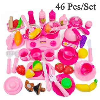 Nuevo 46 unids/set juego de simulación de juguete Mini cocina de juguete de corte de alimentos cumpleaños vegetales de frutas de regalo juguetes educativos para niños los niños