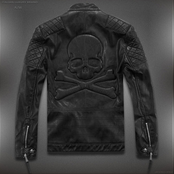 Hot ! High quality new Spring fashion leather jackets men, men's leather jacket brand motorcycle leather jackets skull M-5XL 1