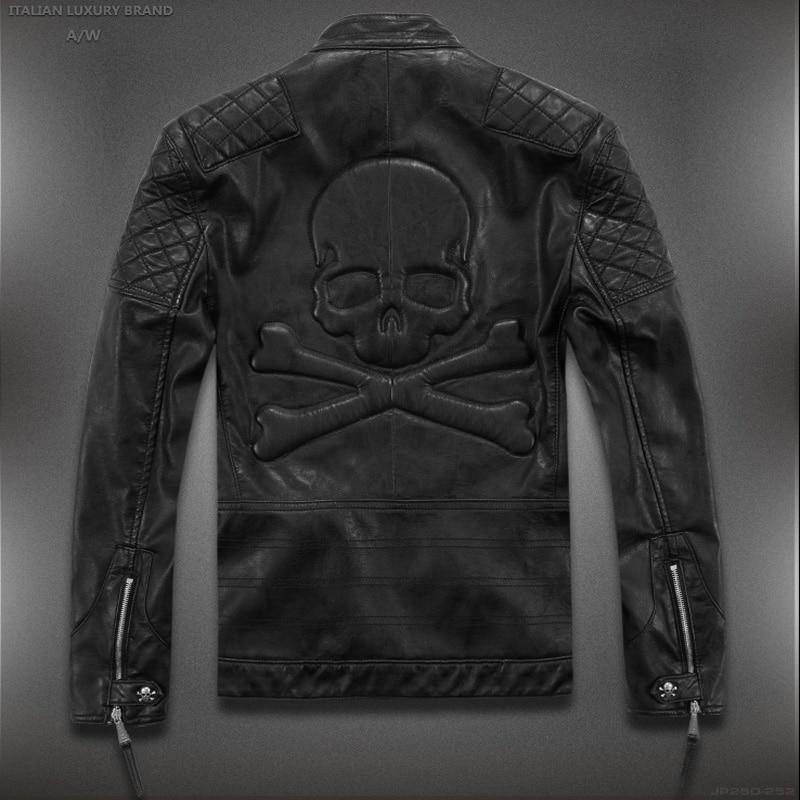 Лидер продаж! Высокое качество Новая Весенняя мода кожаные куртки мужские, мужские кожаные куртки брендовые мотоциклетные кожаные куртки Ч...