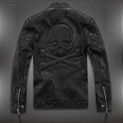 Лидер продаж! Мужская кожаная куртка с черепами, модная мотоциклетная кожаная куртка с черепами, весна-осень, 2019