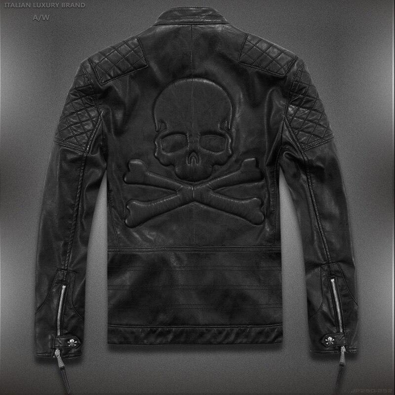 Hot! Alta qualidade nova moda Primavera jaquetas de couro dos homens, jaqueta de couro dos homens marca jaquetas de couro da motocicleta crânio M-5XL