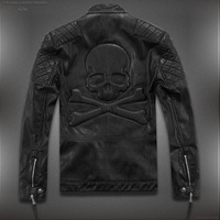 Hot ! High quality new Spring fashion leather jackets men, men's leather jacket brand motorcycle leather jackets skull M 5XL