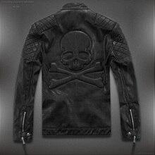 Лидер продаж! Высокое качество Новинка весны модные кожаные куртки для мужчин, мужская кожаная куртка брендовые мотоциклетные кожаные куртки Череп M-5XL