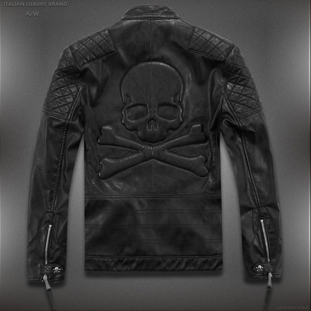 Hot ! High quality new Spring fashion leather jackets men, men's leather jacket brand motorcycle leather jackets skull M-5XL Timelord Clothing UK