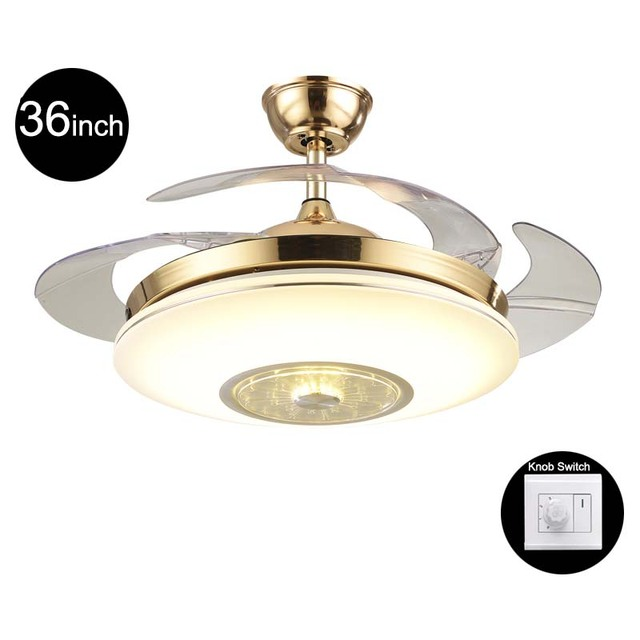 Ceiling Fan With Light Fixture: Creative 42inch Living Room Modern Gold Fan Ceiling Lights
