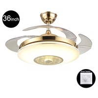 Creative 42inch Living Room Modern Gold Fan Ceiling Lights Fixtures Acrylic Leaf Led Ceiling Fan Light Kit with Remote Control