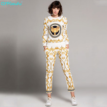 QYFCIOUFU High Quality Women Two Piece Set Top And Pants Long Sleeves Sweatsuit Designer Runway Printed