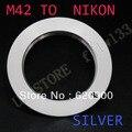 100% de garantia de prata m42 m 42 lens para nikon ai adaptador D80 D90 D200 D300 D700 D3X D3000 D5000 D70 N