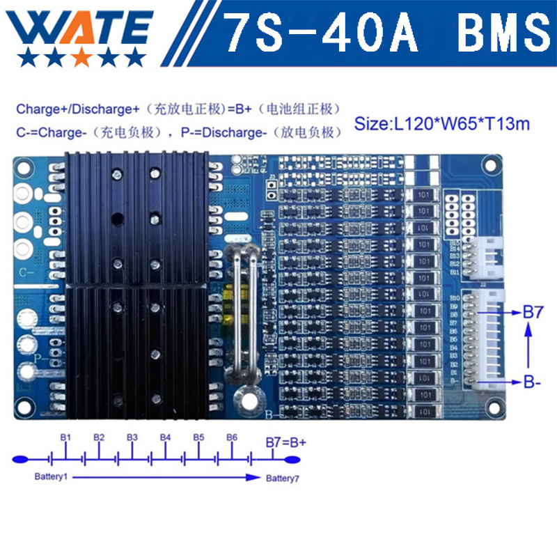 Protection Circuit 7S 40A BMS PCM PCB Battery Protection Board For 29.4V Li-ion lithium Battery Cell Pack PCM-LB7S40A-1265 шубы