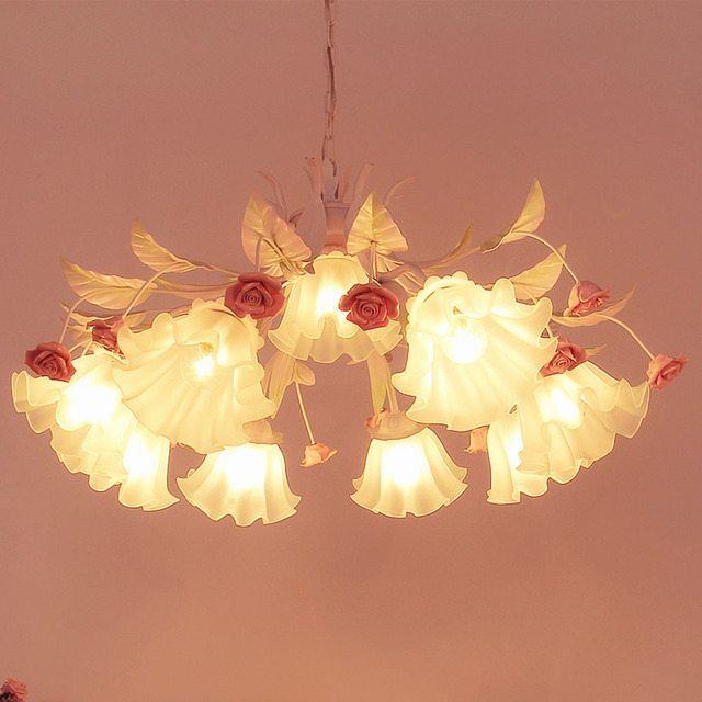 Red Chandelier 110 220v Re Modern Simple Wrought Iron Led Chinese Warm Flower