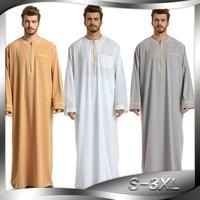 Saudi Arabia Men Islamic Clothing O Neck Long Sleeve Plus Size Embroidery Ropa Arabe Hombre Islamic Mens Thobe baju muslim pria