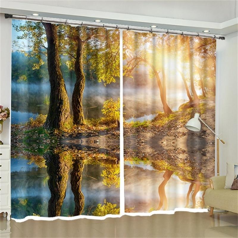 Arbre Art impression tissu rideaux crochet occultant pour salon chambre balcon fenêtre rideaux toile de fond cloison décorative