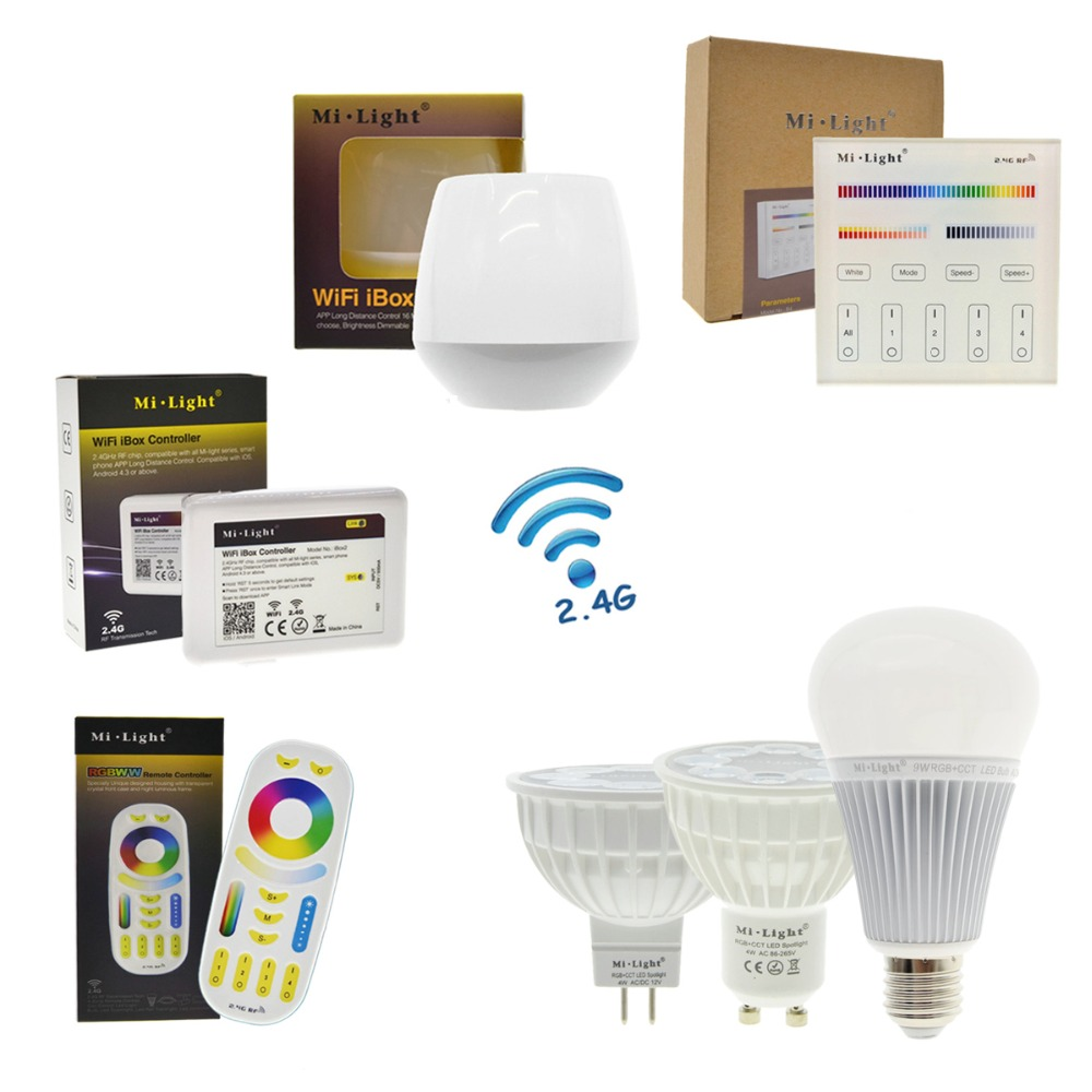 Mi light RGBWW Full Color LED Bulb LED Spotlight GU10 MR16 4W E27 8W RGB+CW+WW Remote Control Smart Lighting