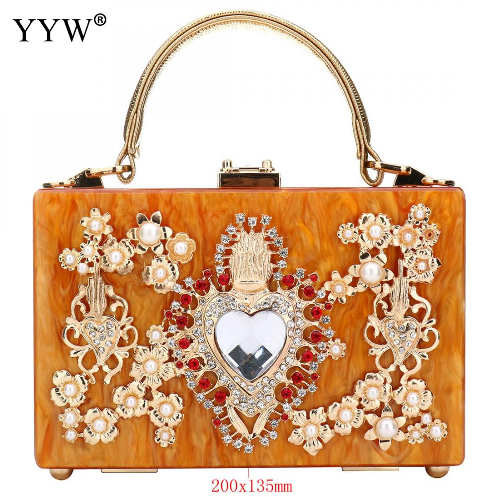 Acrylic Women'S Handbag Evening Clutch Bag Elegant Shoulder Crossbody Diamond Studded Flower Handbag Rhinestone Rectangle Tote-in Top-Handle Bags from Luggage & Bags    3