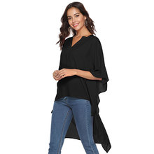 women blouse shirts loose bat sleeve chiffon shirt plus size tops  womens and blouses V-collar short front back long
