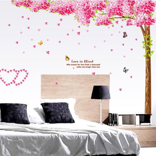 1 set 87*98 Inch Pink Romantic Sakura Removable PVC Wall Stickers Living Room Art Wall Decoration