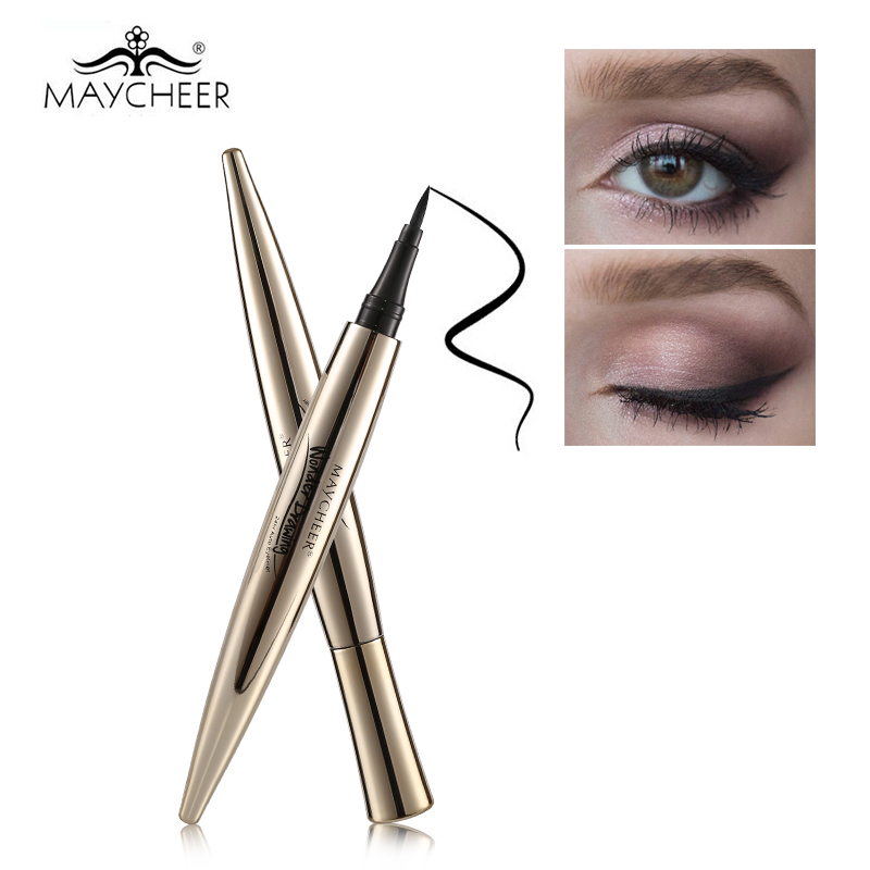 MAYCHEER Professionele vloeibare eyelinerpotlood 24-uurs langharige plant Black Eye Liner Pen Waterproof Beauty Cosmetic Tool Kit