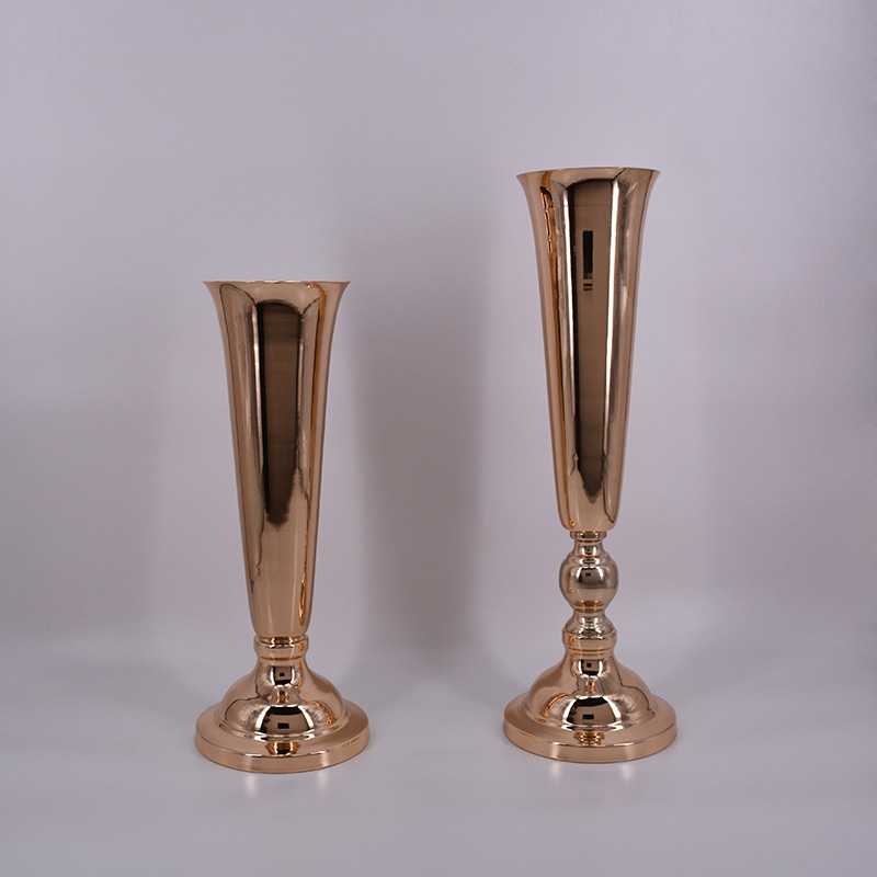 Wholesale 10 Pieces Gold Trumpet Vase With Glass Crystal Ball For Wedding Centerpiece Flower