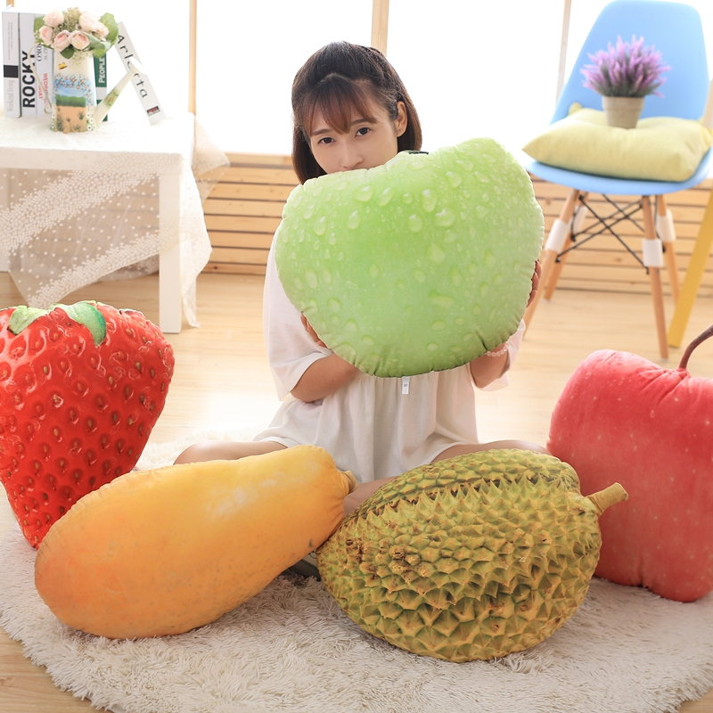 Creative Fruit Plush Toy Pink Apple Fruit Pillow Large Home Sofa Decoration Doll Christmas Peace Fruit Pillow Gift Exotic Apparel