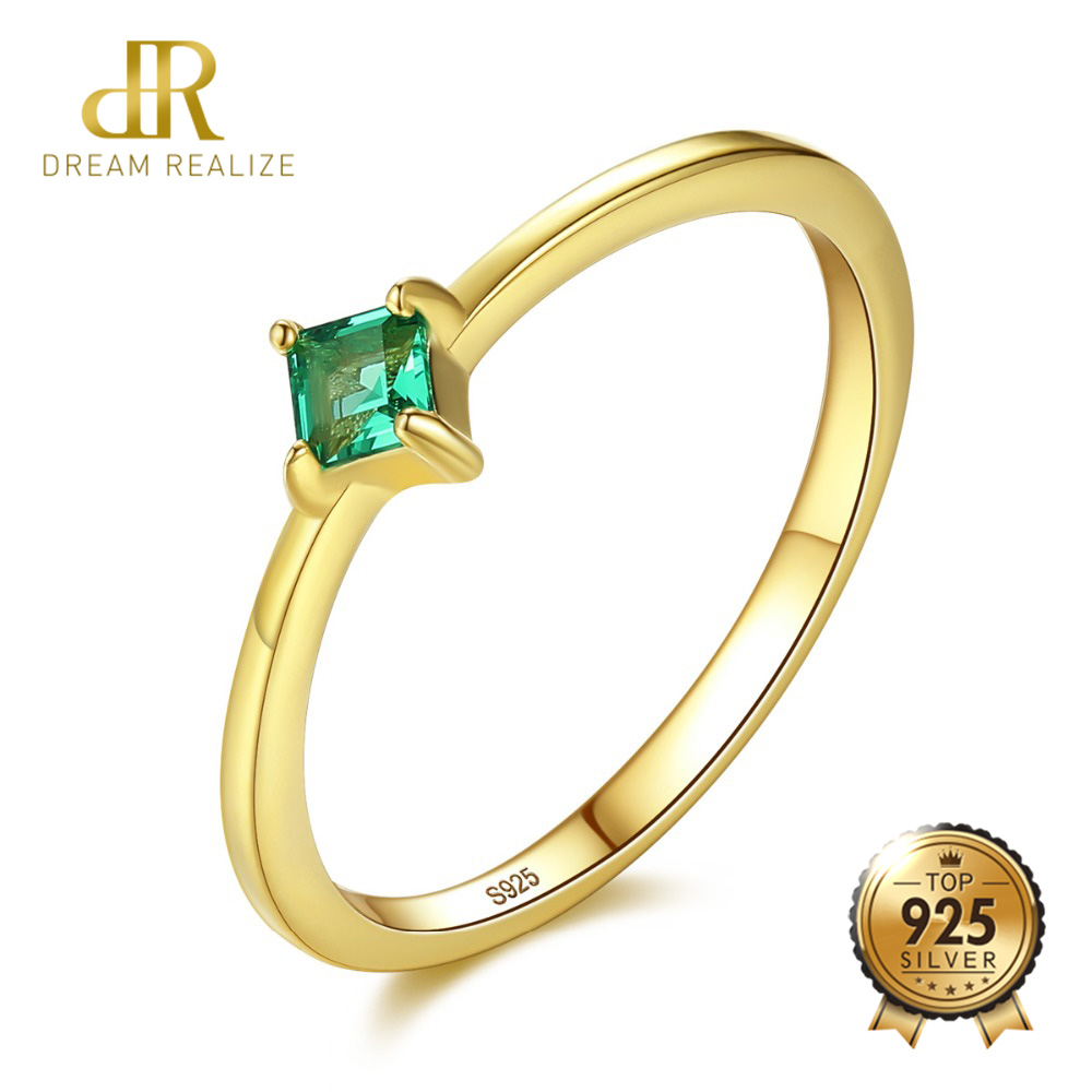 DR Square Shape VVS Emerald Green Rings For Women Real 925 Sterling Silver Gold Color Finger Ring In Anniversary Ring Gifts