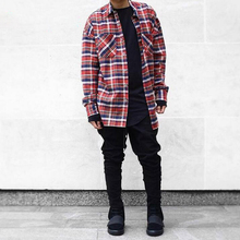 US hip hop most popular justin bieber fear of god fog men unisex flannel long-sleeved plaid oversized dress shirt in red TC183