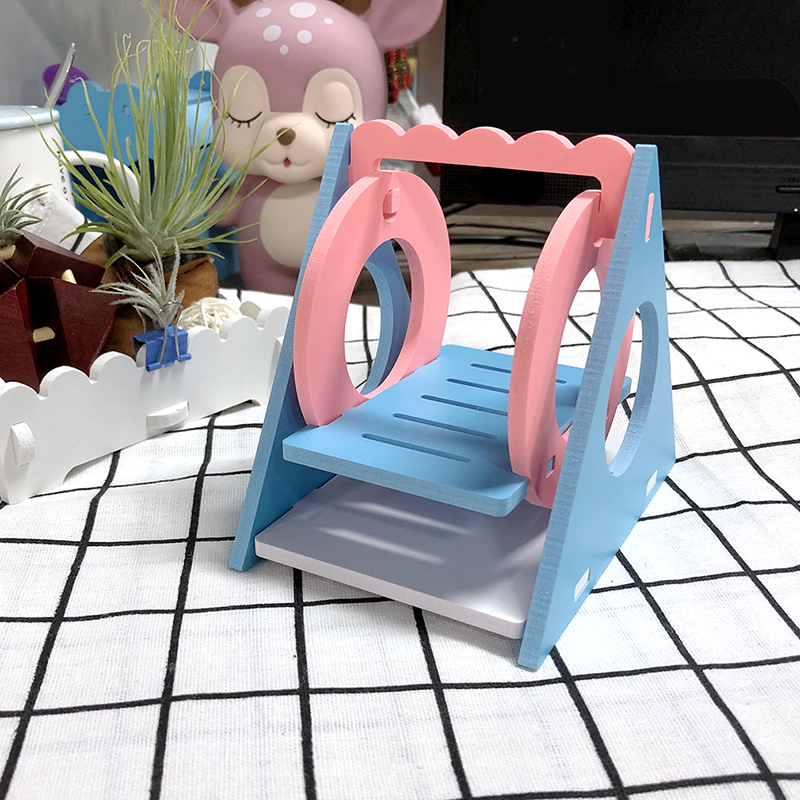 Swing Ecological Wood Rainbow Swing Gerbil Colorful Bridge Mice Rat Mouse Seesaw Accessories font b Pet