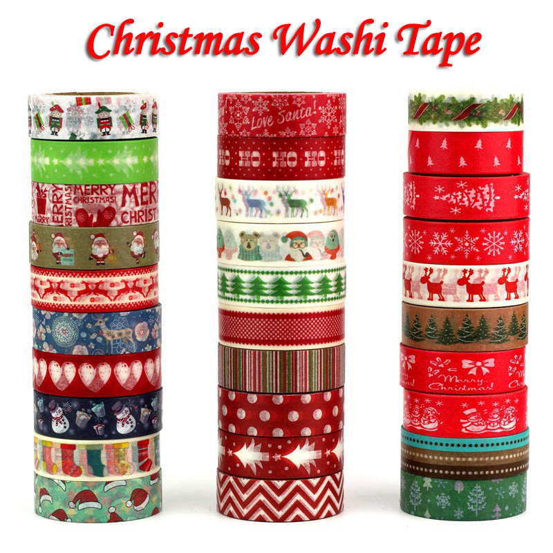 1PC Decorative Christmas Washi Tape Set Rice Paper DIY Scrapbooking Adhesive Tape 1.5cm*10m Masking Tape School Office Supply new 1x hot stamping flowers cherry blossom japanese washi tape scrapbooking decorative diy masking tape office adhesive tape 10m