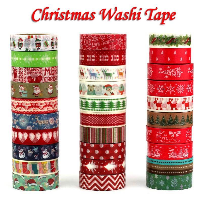 1PC Kawaii Christmas Washi Tape Set Rice Paper DIY Planner Adhesive 1.5cm*10m Masking School Supplies Stationery