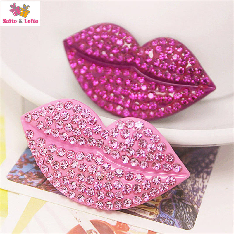 Free shipping 2pcs Sexy crystal Lips phone case DIY material Kitchen Figures magnet home office fridge decoration gifts