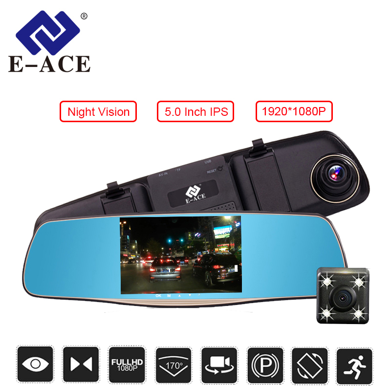 E-ACE 5.0 Inch Car DVR Mirror Full hd 1080P Rearview Mirror Camera With Dual Len Car Video Registrator Dash Camera Auto Dash Cam