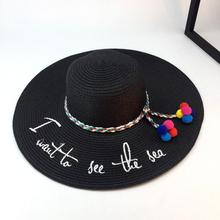 2018 Hot Big Brim Ladies Summer Straw Hat Enkel Hatter For Women Shade Ungdom Letter Broderi Sol Hatt Beach Caps Gratis frakt