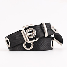 HUOBAO Fashion Canvas Belts For Women  Hollow Out Air Hole Waistband Metal Buckle Wild Belt Solid Color Corset Belts недорого