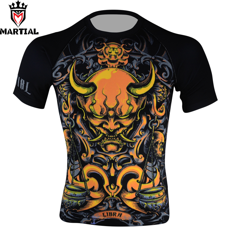 Martial: Libra original bedruckte rash guard mma kompressionsbekleidung für männer t-shirt jerseys