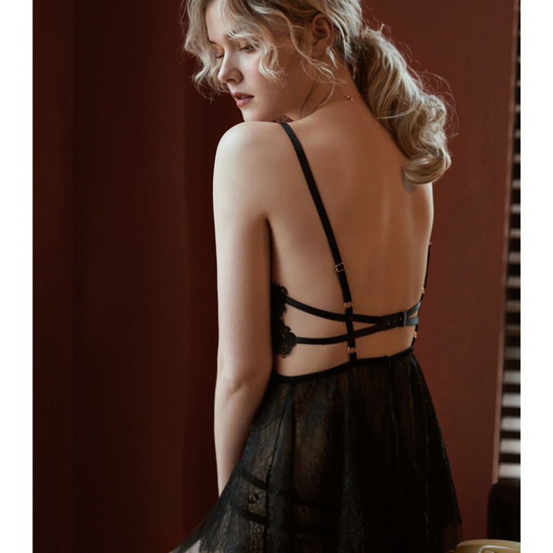 sexy mousse backless women sleep wear night gowns with thong sets V-neck lace sexy young girl stripe design black white red new 6