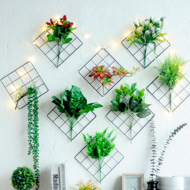 Iron Shelves Mesh Grid Panel Photo Holder Artificial Flower Storage Rack Wall Home Decor Buy At The Price Of 2 76 In Aliexpress Com Imall Com
