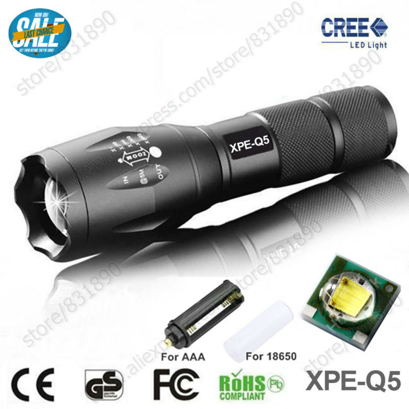Hot Sale 5 Modes LED Flashlight Torches XM-L Q5 2000LM Aluminum Waterproof Zoomable light for 18650 Rechargeable or AAA Battery