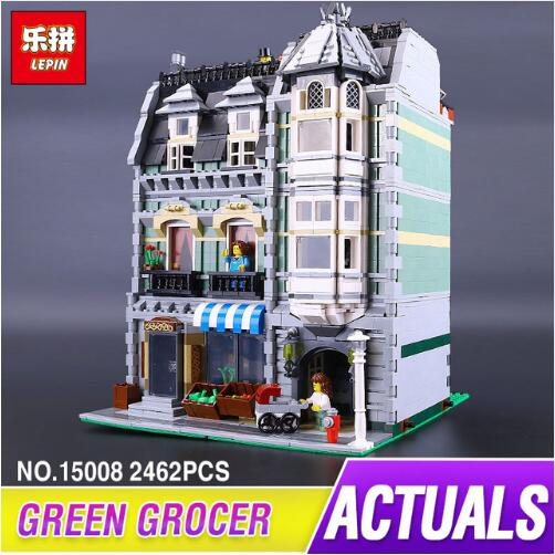 New Lepin 15008 2462Pcs City Street Green Grocer Model Building Kits Blocks Bricks Compatible Educational legoed 10185 toys lepin 15008 new city street green grocer model building blocks bricks toy for child boy gift compatitive funny kit 10185 2462pcs