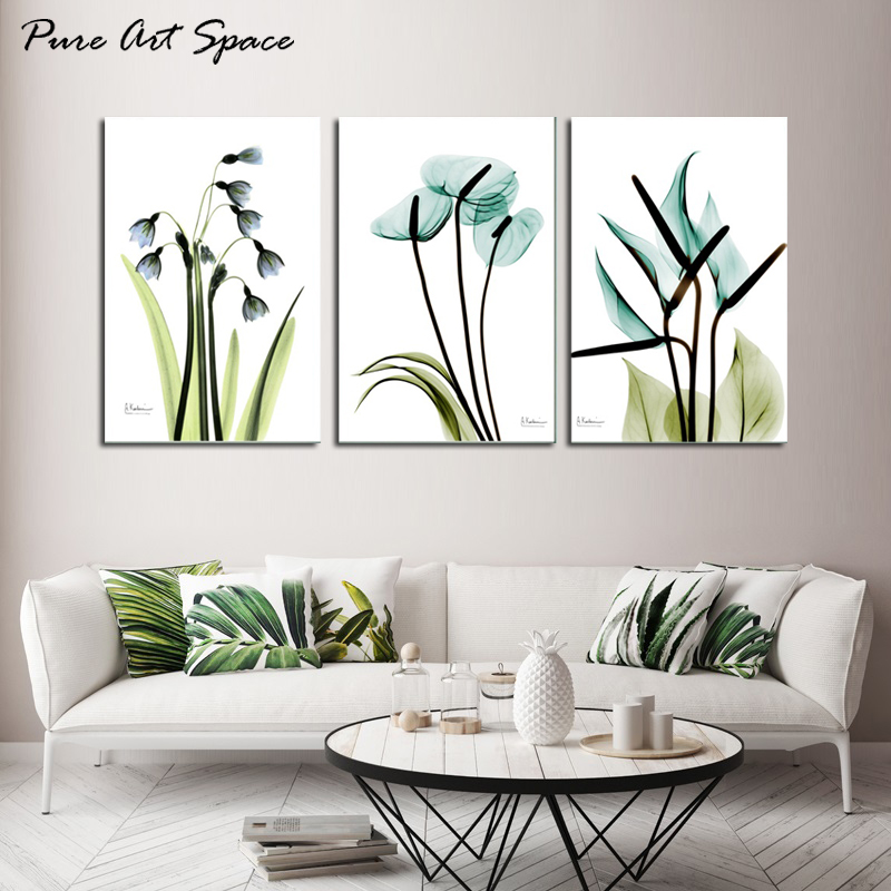 Us 9 31 6 Off 3 Piece Wall Art Canvas Blue Flowers Landscape Paintings Hd Printed Poster Decor Nordic Decoration Home Picture Living Room In
