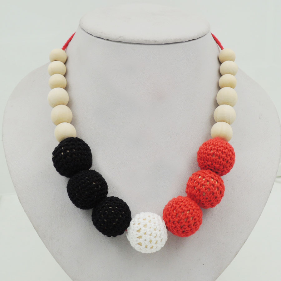 Handmade breast feeding Red black white crochet necklace, cotton yarn knitted baby shower toy new-born baby toy NW1956