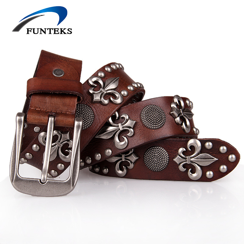 FUNTEKS 2017 Unisex Genuine Leather Belts