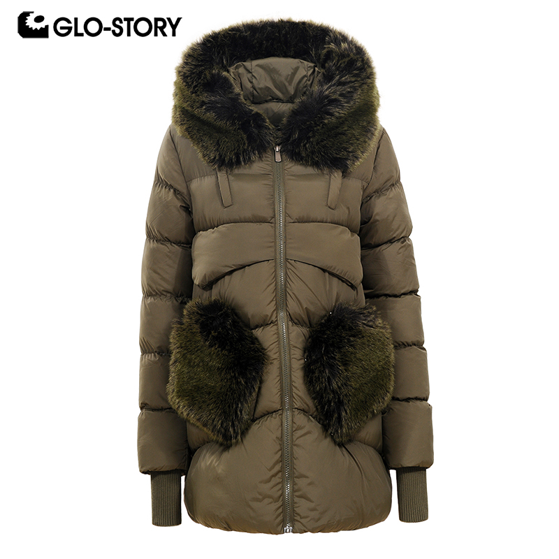 GLO-STORY Women Korean Winter Thick Padded Jacket Coats Woman Windbreaker Sleeve with Faux Fur Pockets and Collar Long   Parkas
