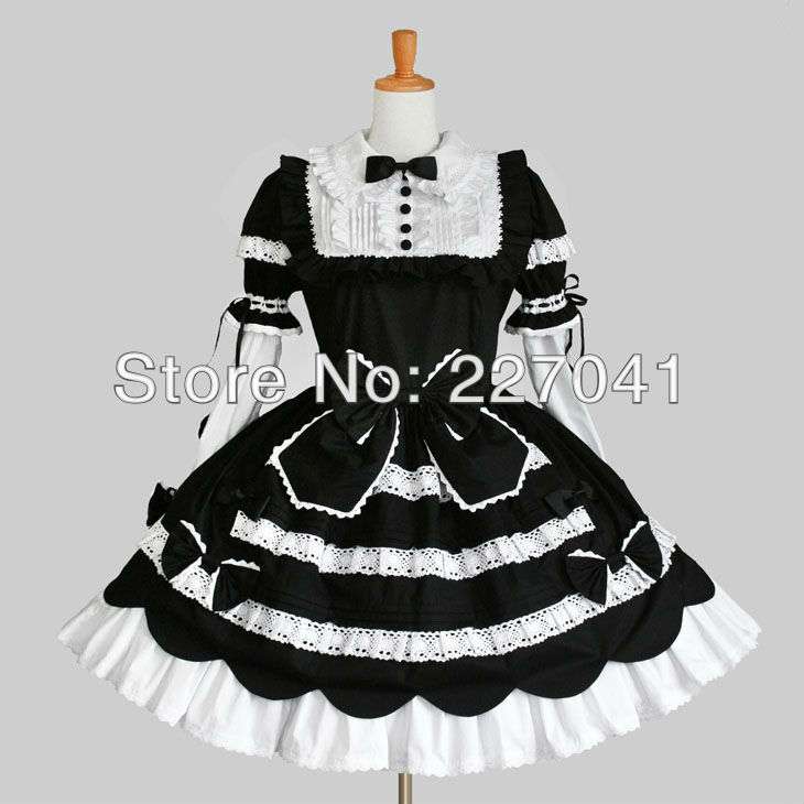 Japanese Girl Lolita maid anime clothes Halloween black cosplay costume dress Free Shipping A0149