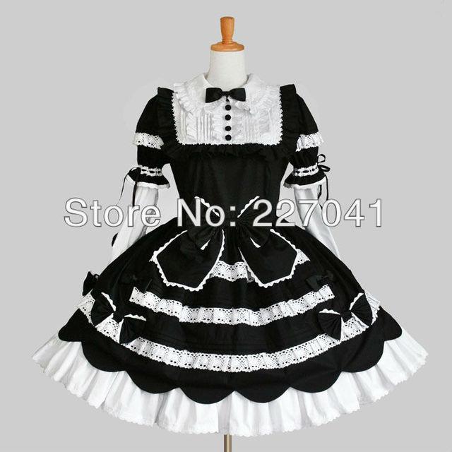 Japonka Lolita Pokojwka Anime Ubrania Halloween Czarny Cosplay