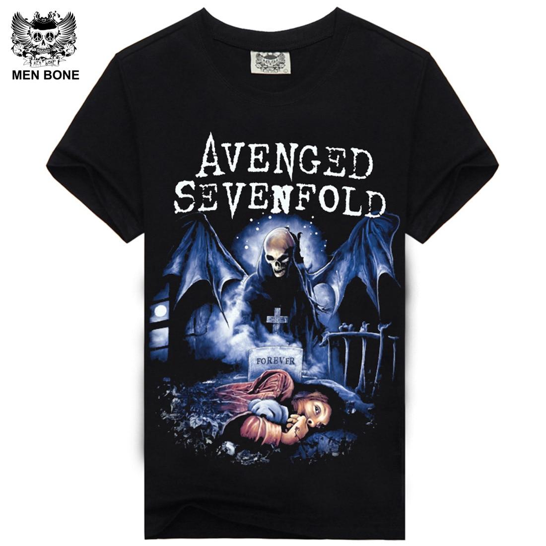[Men bone] Avenged Sevenfold heavy metal rock men   t     shirt   print   t  -  shirts   short sleeve o-neck hiphop casual men tees   T  -  Shirt